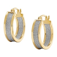 Silver Spectrum Sterling Silver Two Tone Diamond Cut Hoop Earrings