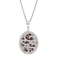 Dallas Prince Sterling Silver Garnet Pendant with Chain