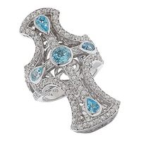 Dallas Prince Sterling Silver Blue Topaz Cross Ring