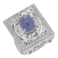 Dallas Prince Sterling Silver Tanzanite & Zircon Ring