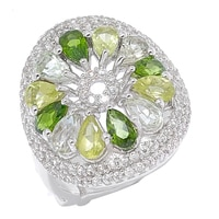Dallas Prince Sterling Silver Gemstone Cluster Ring