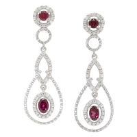 Dallas Prince Sterling Silver Rhodolite & White Zircon Earrings