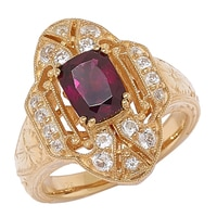 Generations 1912 Sterling Silver Rhodolite Garnet & White Sapphire Celebration Ring
