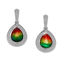 Ammolite Gems 10x8mm Ammolite Teardrop Earrings