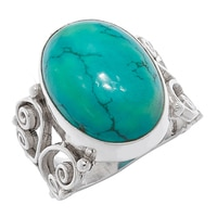 Himalayan Gems Sterling Silver Gemstone Ring - Turquoise