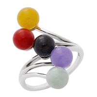 Jade of Yesteryear Sterling Silver Multi Jade Bead Ring