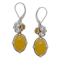 Jade of Yesteryear Sterling Silver Yellow Jade & Citrine Earrings