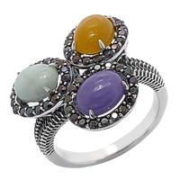 Bague en argent sterling ornée de jades et de spinelles noirs de Jade of Yesteryear