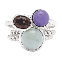 Jade of Yesteryear Sterling Silver Jade & Gemstone Set of Four Rings