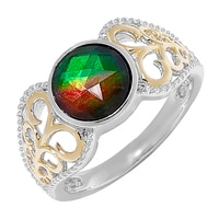 Ammolite Gems Sterling Silver Faceted Ammolite Ring