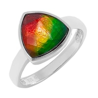 Ammolite Gems Sterling Silver Faceted Trilliant Ammolite Ring