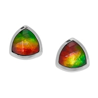 Ammolite Gems Sterling Silver Trilliant Ammolite Earrings