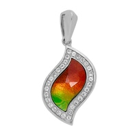 Ammolite Gems Sterling Silver Faceted Leaf Ammolite Pendant