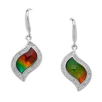 Ammolite Gems Sterling Silver Faceted Leaf Ammolite Earrings