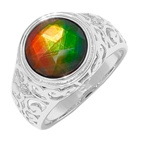 Ammolite Gems Sterling Silver Faceted Ammolite Oval Ring
