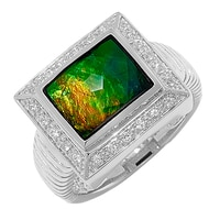 Ammolite Gems Sterling Silver Rectangular Ammolite and Gem Ring