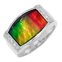 Ammonite Gems Sterling Silver Ammolite Ring