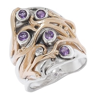 Hagit Designs Silver 14K Yellow Gold Amethyst & Diamond Ring