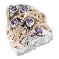 Hagit Sterling Silver 14K Yellow Gold Amethyst & Diamond Ring