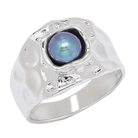 Hagit Jewellery Sterling Silver Peacock Cultured Freshwater Pearl Ring