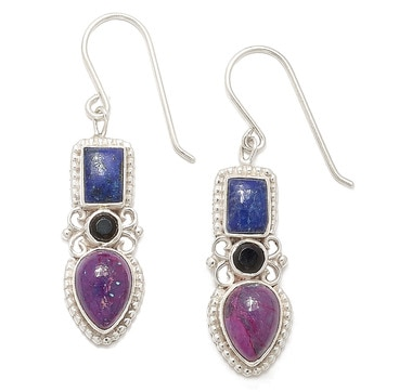 Himalayan Gems Sterling Silver Mohave Purple Turquoise, Lapis & Onyx Earrings