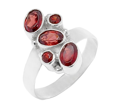 Himalayan Gems Sterling Silver Multi-Garnet Ring