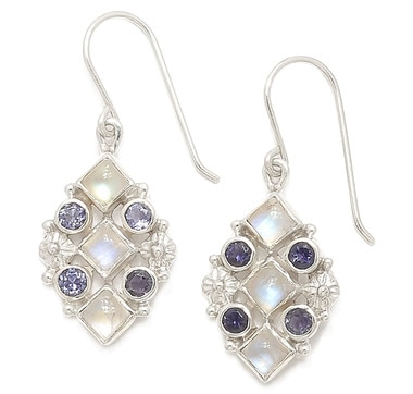 Himalayan Gems Sterling Silver Rainbow Moonstone & Iolite Earrings