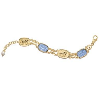 Bracelet orné de camées représentant une muse sur or jaune 14 ct de Vicenza Gold