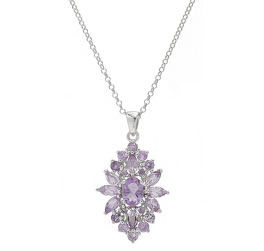Sigal Style Sterling Silver Floral Pendant with Chain