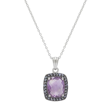 Sigal Style Sterling Silver Amethyst Pendant with Chain