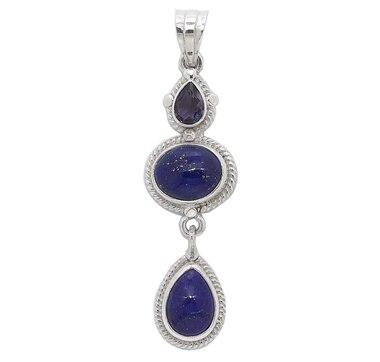 Himalayan Gems Sterling Silver Lapis & Iolite Pendant