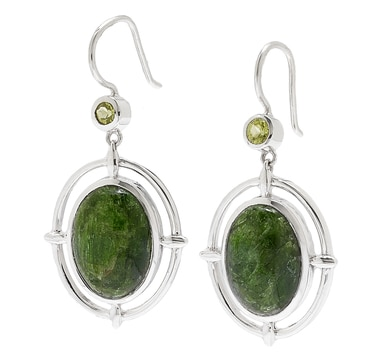 Himalayan Gems Sterling Silver Chrome Diopside & Peridot Earrings