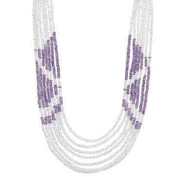 Himalayan Gems Sterling Silver Multi Gemstone Necklace - Rainbow Moonstone & Amethyst