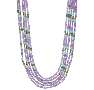 Himalayan Gems Sterling Silver Multi Gemstone Necklace - Amethyst, Apatite & Smoky Quartz