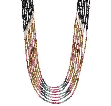 Himalayan Gems Sterling Silver Multi Gemstone Necklace - Multi Coloured Tourmaline