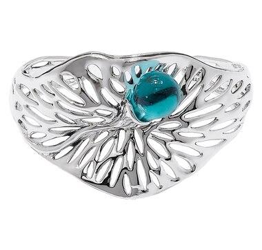 Hagit Sterling Silver Glass Bead Cuff