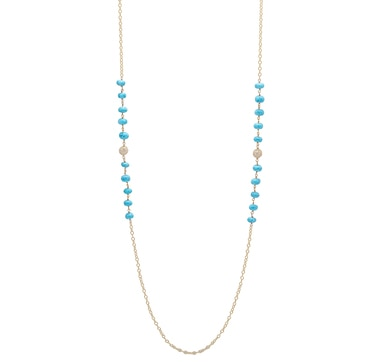 Lucy Malika for Diamonelle Turquoise Beads Sterling Silver Long Necklace