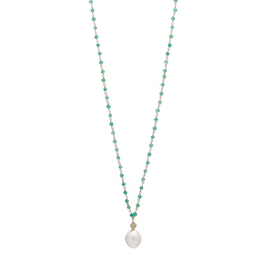 Lucy Malika for Diamonelle Baroque Freshwater Pearl & Green Onyx Sterling Silver Necklace