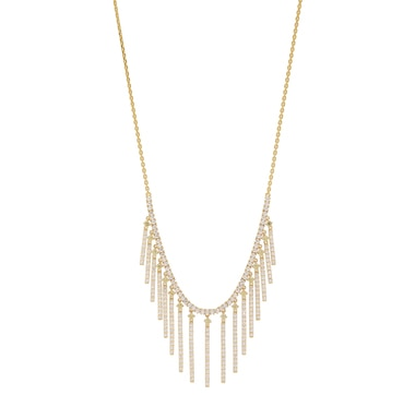 Diamonelle Sterling Silver Yellow Gold Plate Fringe Necklace