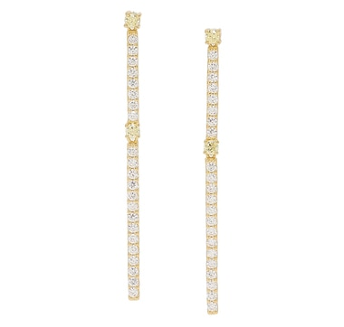Diamonelle Sterling Silver Simulated Canary Diamond Linear Earrings