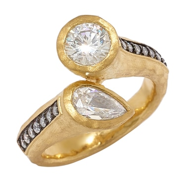 Diamonelle Sterling Silver Gold & Gun Metal Plated Bypass Ring