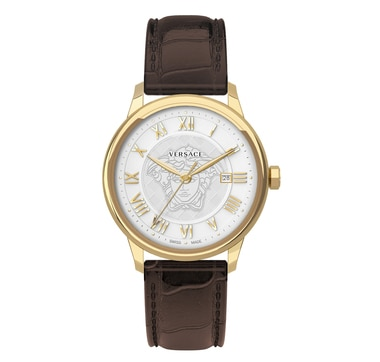 Versace IPYG 2N Case White Dial Brown Leather Strap Watch