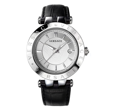 Versace 42mm Stainless Steel White Dial Black Strap Watch