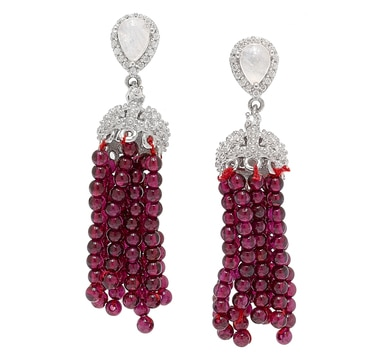 Dallas Prince Sterling Silver Gemstone Tassel Earrings