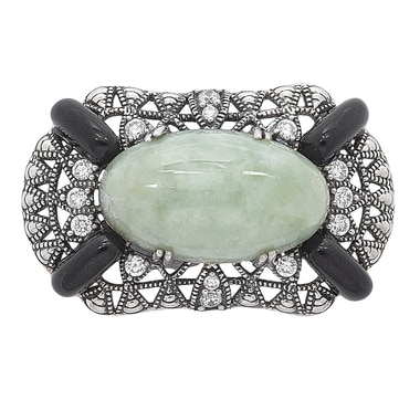 Jade of Yesteryear Sterling Silver Green Jade, Black Resin & White Cubic Zirconia Pin