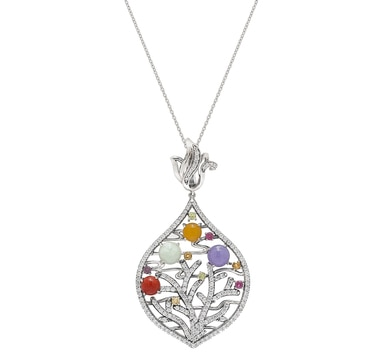 Jade of Yesteryear Sterling Silver Multi Jade & Gemstone Pendant with Chain