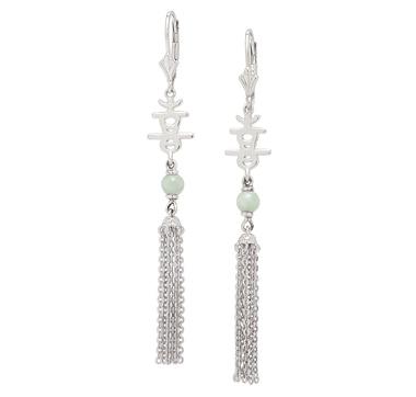 Jade of Yesteryear Sterling Silver Green Jade Tassel Earrings