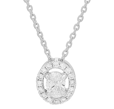 Inspire Diamonds 14K Gold Oval Shape Halo Pendant with Chain