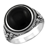 Sterling Silver Australian Black Jade Ring
