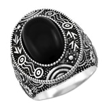 Sterling Silver Oval Australian Black Jade Ring